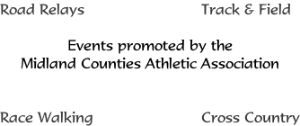 Road Relays 																									Track & Field   Events promoted by the Midland Counties Athletic Association   Race Walking  																						Cross Country